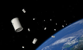 Garbage in space. Garbage cans in space, in orbit of the earth-3D render Stock Photo