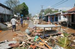 The debris after the tsunami at Hikkaduwa in Sri Lanka Stock Images