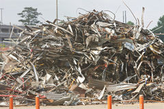 Debris And Twisted Metal Are Piled High At Demolition Site Stock Photos