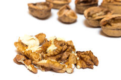 Debris from walnuts on a white background. A walnuts on a white background Royalty Free Stock Photos