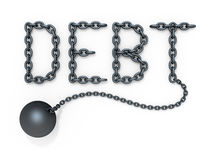 Debt. 3D concept with word DEBT and iron ball over white background Stock Images