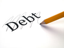 DEBT. Which is being paid off and erased Stock Photography