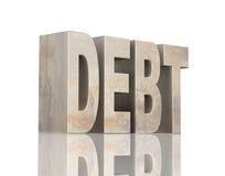 Debt. Stone text. 3d render Stock Photos
