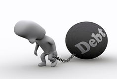 In Debt. A 3D illustration of a person in debt Royalty Free Stock Images