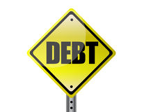 Debt. Yellow street sign isolated over white Stock Photo