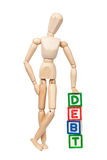 Debt. Wooden figurine with the word DEBT isolated on white background Stock Image
