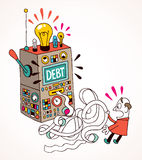 Debt. Cartoon illustration of a computer calculating debt Stock Photography