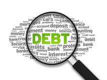 Debt. Magnified illustration with the word Debt on white background vector illustration