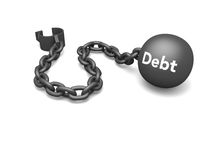 Debt. Prisoner shackle with word debt on the iron ball, concept of escaping debt and dependency on credit.  on white background Royalty Free Stock Images