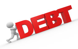 Debt. 3d people - man, person and word debt Stock Image