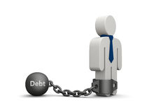 In debt. Concept of debt. Illustration of a person with tie chained to iron ball Royalty Free Stock Photography