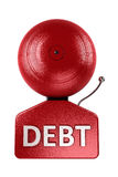 Debt alarm bell over white Stock Images