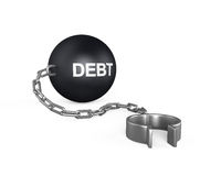 Debt Ball and Chain. On white background. 3D render Royalty Free Stock Photo