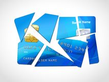 Debt bankruptcy symbol. Broken credit card default debt bankruptcy symbol isolated vector illustration Stock Photos