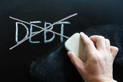 Debt Being Crossed Out And Wiped Royalty Free Stock Photography