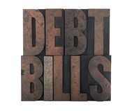Debt bills Royalty Free Stock Photography
