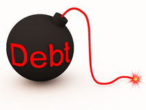 Debt bomb. A bomb of debt and loans waiting to explode and unleash possible bankruptcy or financial uncertainty Stock Image