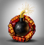 Debt Bomb. Business and finance concept as an explosive lit dynamite object with a group of text around it representing dangerous liability and financial Stock Photo