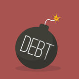Debt bomb with sparkle Royalty Free Stock Images