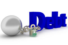 DEBT BURDEN. 3d generated picture of the blue word debt chained to heavy loads. The lock is opened with an electronic payment credit or debit card Royalty Free Stock Images