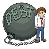Debt. Business man burdened with huge Debt Royalty Free Stock Image