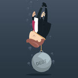 Debt. Businessman appeal for aid because debt weigh Stock Image