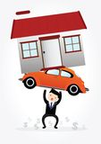 Debt. Businessman with debt carrying a home and car Stock Images