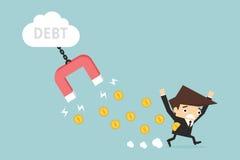 Debt. Businessman with debt , vector EPS10 vector illustration