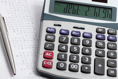 Debt calculator Royalty Free Stock Photography