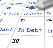In Debt Calendar Shows Borrowed Money Owed Royalty Free Stock Photos
