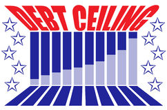 Debt Ceiling Graphic. Red, white a blue graphic with the words Debt Ceiling in perspective with a bar graph, stars and leading lines Royalty Free Stock Images