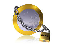 Debt chain. Euro coin with chain and padlock, symbolizing Eurozone national debt problems Stock Photos