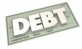 Debt Check Money Owed Defecit Bankrupt Word Royalty Free Stock Photos