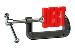 Debt in clamp 3D. Debt in clamp on white background Stock Images