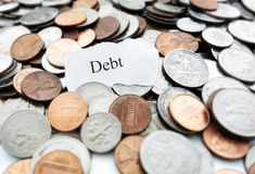 Debt coins Stock Photos