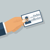 Debt collector vector. Debt collector. Salesman pressure. Man tax agent, bouncer, holding an identity card in hand. Vector illustration flat design Royalty Free Stock Photo