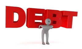 Debt concept. Figurine carrying the word debt. 3d rendering Royalty Free Stock Photography