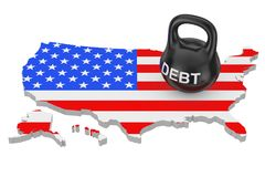 Debt Concept. Black Iron Kettlebell with Debt Sign over USA Map. With Flag on a white background. 3d Rendering Stock Photos