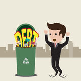 Debt concept. Businessman no debt. Debt concept, business man rejected word debt to the trash. Vector Royalty Free Stock Photos