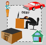 Debt concept cartoon, flat design. Illustration of debt concept cartoon, flat design business man in dept surrounded by house bank car his wife and two children Stock Photos