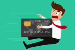 Debt concept. Credit card attack businessman. Cartoon Vector Illustration Royalty Free Stock Images