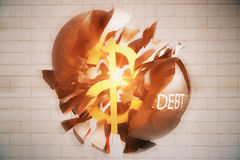 Debt concept. Exploding wrecking ball with golden dollar sign inside on brick background. 3D Rendering Stock Images