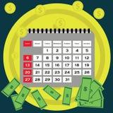Debt concept  flat design. Saving money for paying bills.  Royalty Free Stock Photography