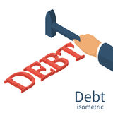 Debt concept Isometric. Debt concept. Man holding a hammer in hand, to break up Debt. Isometric 3d design. Avoid taxes concept. Vector illustration. Financial Stock Photo