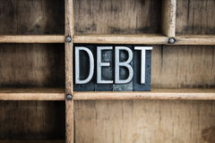 Debt Concept Metal Letterpress Word in Drawer Royalty Free Stock Photos
