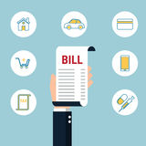 Debt concept. Paying bills. Hand holding bills with icons. Cartoon Vector Illustration Royalty Free Stock Photography