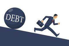 Debt concept vector. Debt concept. Businessman runs away from big debt. Financial crisis, economic depression, crash financial. Vector illustration flat design Stock Photos