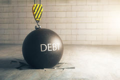 Debt concept. Wrecking ball with text in brick interior with broken floor. Close up, 3D Rendering Stock Photo