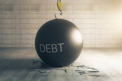 Debt concept. Wrecking ball with text in brick interior with broken floor. 3D Rendering Stock Photography