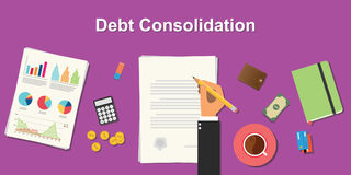 Debt consolidation business concept illustration terms with business man hand writing working on graph chart money paper Stock Photos